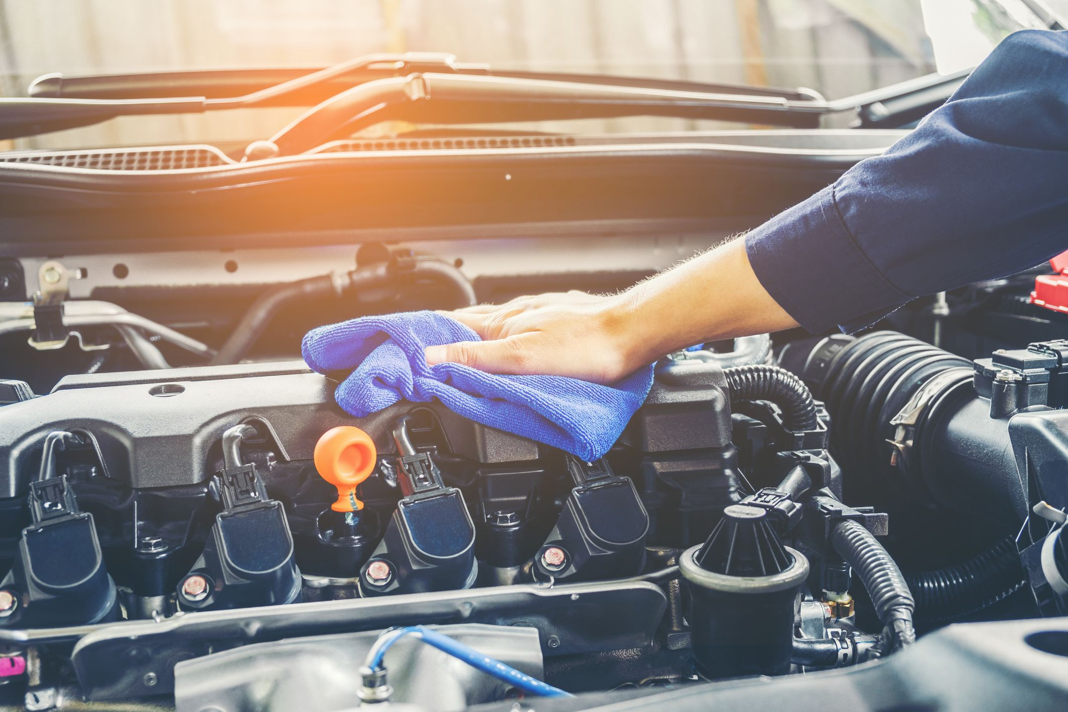 Clean an automobile Battery
