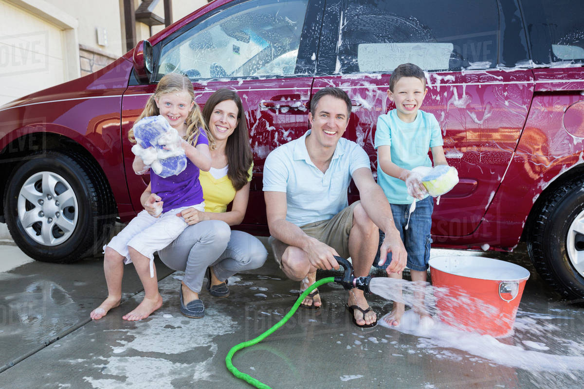 car wash with family